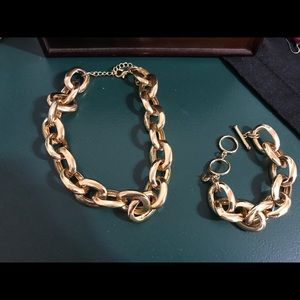 Gold Chin Necklace and Bracelet